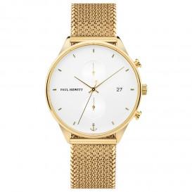 Paul Hewitt PH-C-G-W-50S Horloge Chrono Line White Sand Golden Woven Mesh 42 mm