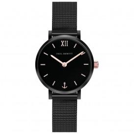 Paul Hewitt PH-SA-B-XS-BSR-45S Horloge Sailor Line Black Sunray zwart- rosekleurig 28 mm