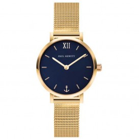 Paul Hewitt PH-SA-G-XS-B-45S Horloge Sailor Line Modest Blue Lagoon goudkleurig-blauw 28 mm
