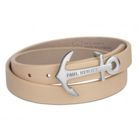 Paul Hewitt Armband North Bound Wrap Steel silver-hazelnut 42,5 cm PH-WB-S-22M