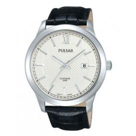 Pulsar Herenhorloge staal/leder zilverkleurig-zwart PS9349