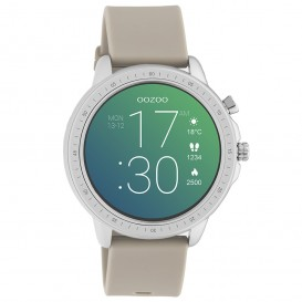 OOZOO Q00313 Smartwatch staal-rubber zilverkleurig-taupe 45 mm