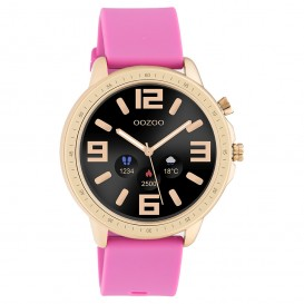 OOZOO Q00325 Smartwatch staal-rubber rosekleurig-raspberry roze 45 mm