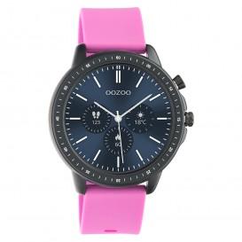 OOZOO Q00331 Smartwatch staal-rubber zwart-raspberry roze 45 mm