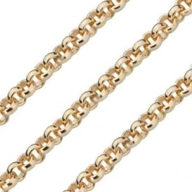 Quoins Ketting staal goudkleurig Jasseron 3 mm 90 cm QK-EG1