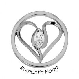 Quoins Disk Romantic Heart staal zilverkleurig Medium QMOK-21M-E-CC