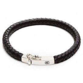 Rebel and Rose Armband Small Braided Square Black 21 cm RR-L0009-S