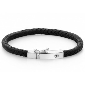 Rebel and Rose Armband Small Braided Square Black 17 cm RR-L0009-S