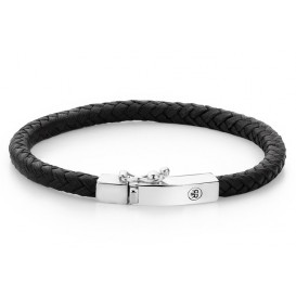 Rebel and Rose Armband Small Braided Square Black 19,5 cm RR-L0009-S