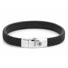 Rebel and Rose Armband Woven Waffle Black 19,5 cm RR-L0047-S