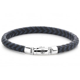 Rebel and Rose Armband Half Round Braided Black-Blue 18 cm RR-L0063-S-S