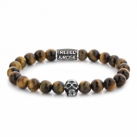 Rebel and Rose RR-SK005-S-M Armband Skull Mixed Tiger 8 mm 17,5 cm