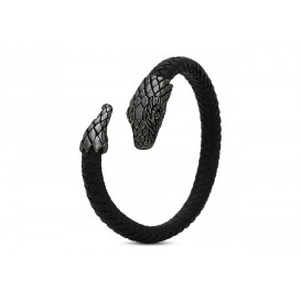 Silk Jewellery Fierce armband Snake Head-Tail Leather Black Large S25-1
