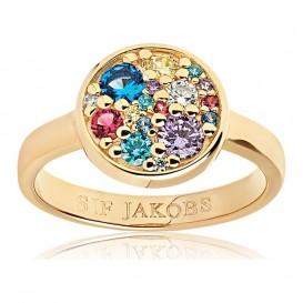 Sif Jakobs SJ-R1056-XCZ-YG Ring Novara Multicoloured zilver Maat 52