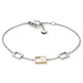 Skagen SKJ1429998 Armband Agnethe Open Square staal-parelmoer zilver-en goudkleurig