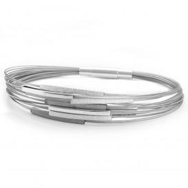 YO DESIGN T1026 Armband Galileo Black zilver zwart-zilverkleurig 19 cm