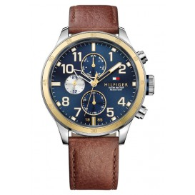 Tommy Hilfiger Horloge Trent staal/leder 46 mm TH1791137