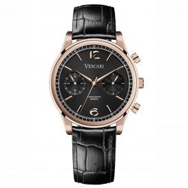 Vescari VSC-02RGB-1 Horloge The Chestor Rosegold-Black staal-leder 40 mm
