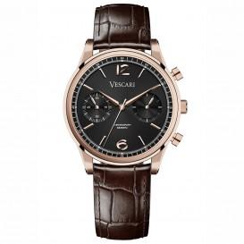 Vescari VSC-02RGB-2 Horloge The Chestor Rosegold-Brown staal-leder 1