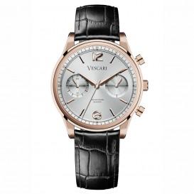 Vescari VSC-02RGS-1 Horloge The Chestor Rosegold-Silver-Black staal-leder 40 mm