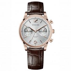 Vescari VSC-02RGS-2 Horloge The Chestor Rosegold-Silver-Brown staal-leder 40 mm