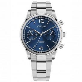 Vescari VSC-02SBL-5 Horloge The Chestor Steel Blue staal blauw-zilverkleurig 40 mm-1