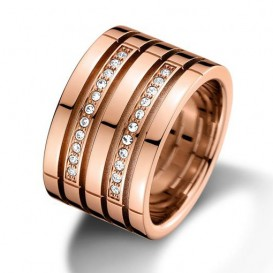 Tommy Hilfiger TJ2701028 Ring Multi Band staal rosekleurig Maat 54