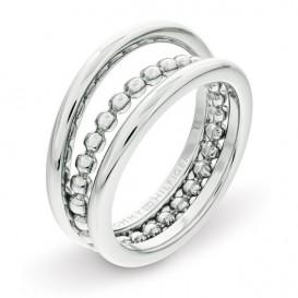 Tommy Hilfiger TJ2701101 Ring Stacked staal zilverkleurig Maat 56