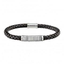 Tommy Hilfiger TJ2790153 Armband leder/staal zilverkleurig-zwart 20 cm