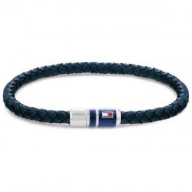 Tommy Hilfiger TJ2790294 Armband staal-leder blauw-zilverkleurig 21,5 cm