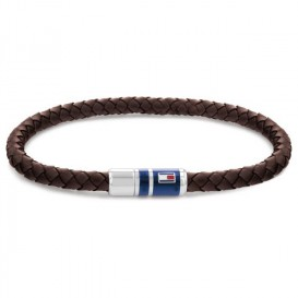 Tommy Hilfiger TJ2790295 Armband staal-leder bruin-zilverkleurig 21,5 cm