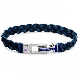 Tommy Hilfiger TJ2790308 Armband staal-leder blauw-zilverkleurig 21 cm