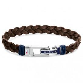 Tommy Hilfiger TJ2790309 Armband staal-leder bruin-zilverkleurig 21 c
