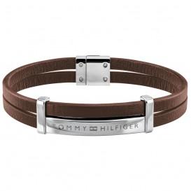 Tommy Hilfiger TJ2790076 Armband staal/leder zilverkleurig-bruin