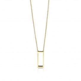 Zinzi Gold Ketting goud met rechthoek 40-42 cm ZGC178