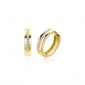 Zinzi Gold oorbellen Klapcreolen goud met zirconia 13,5 x 3,2 mm ZGO206
