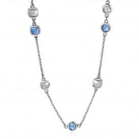 Zinzi ZIC1726 Ketting zilver met zirconia blauw-wit 45 cm