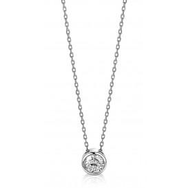 Zinzi ZIC1775 Ketting zilver met ronde zirconia 43 cm
