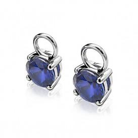 Zinzi ZICH1300Q Oorringbedels zilver met blauwe zirconia