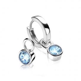Zinzi ZICH1486B Oorringbedels zilver met blauwe zirkonia