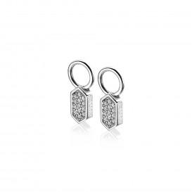 Zinzi ZICH1788 Oorringbedel zilver zeskant
