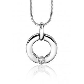 Zinzi Hanger zilver met zirconia ronde vorm ZIH1323