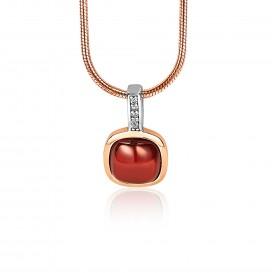 Zinzi ZIH1717 Hanger vierkant zilver-rosekleurig-rood