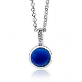 Zinzi ZIH1871 zilver met zirconia rond blauw