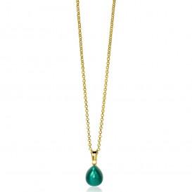 Zinzi ZIH1934GG Hanger zilver goudkleurig met groene steen