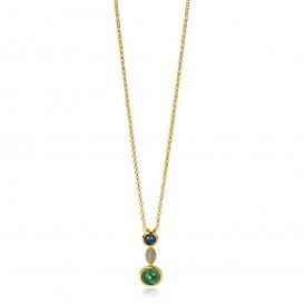 Zinzi ZIH1967 Hanger zilver goudkleurig-blauw-groen