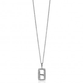 Zinzi ZIH1976 Hanger zilver Rechthoek met koordrand