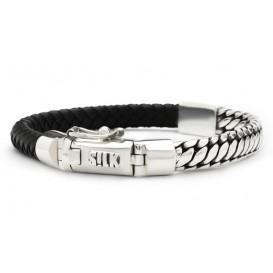 SILK Jewellery Armband zilver/leder zwart 19 cm 854BLK