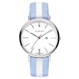 Zinzi horloge Retro Streep staal/leder blauw-zilverkleurig ZIW406BS