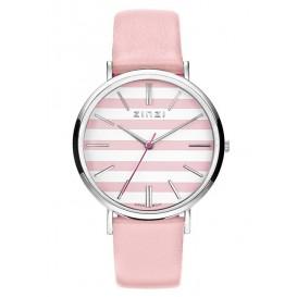 Zinzi horloge Retro Streep staal/leder roze-zilverkleurig ZIW419R